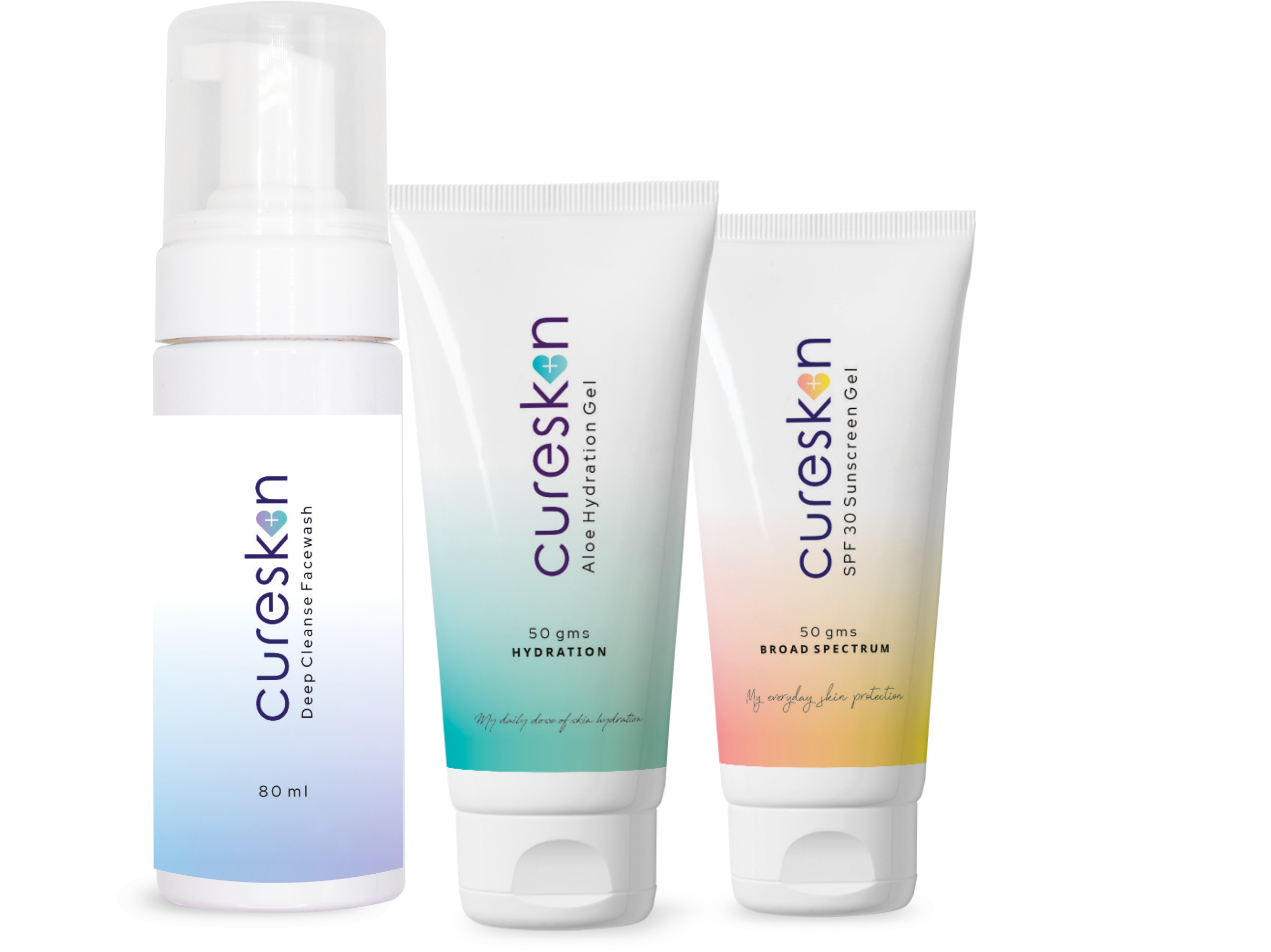 cureskin products, cureskin treatment kit, skin care kit, cureskin app products, cureskin sunscreen, cureskin face wash, hydration gel