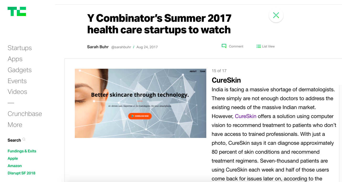 """ Y Combinator's Summer 2017 health care startups to watch"""