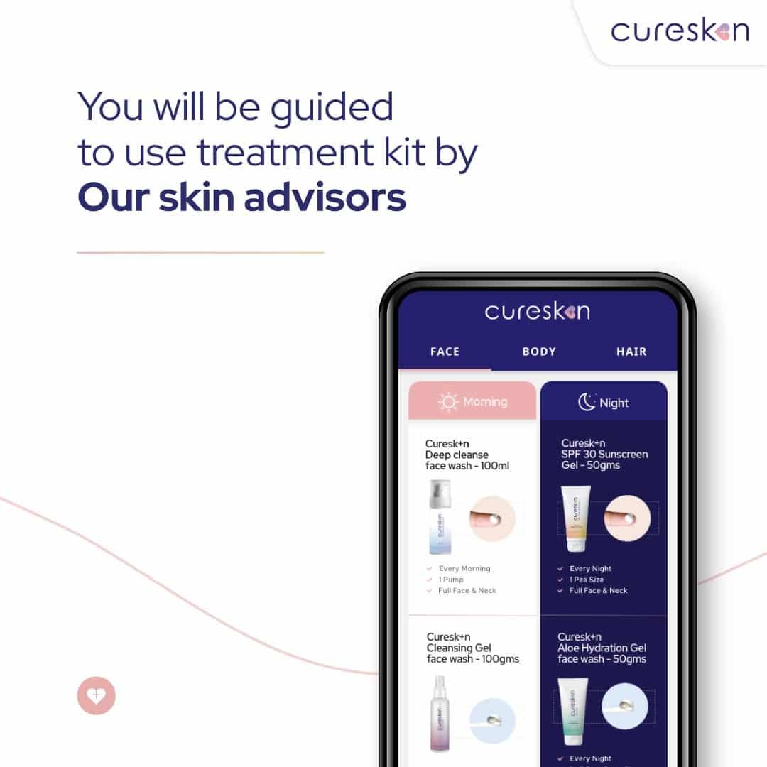 cureskin doctor regimen, dermatologist app, cureskin app, skin treatment instruction
