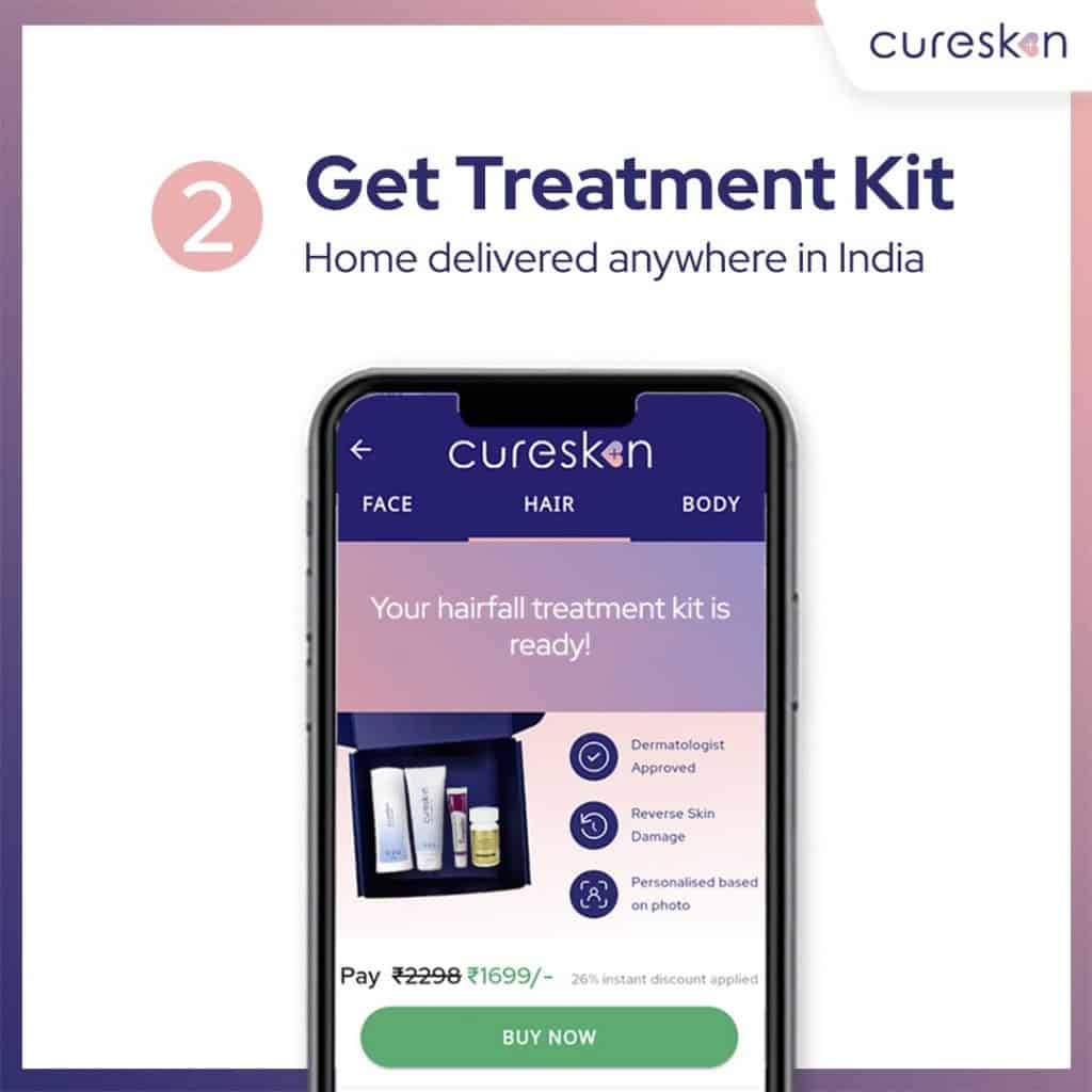 hair fall treatment kit, cureskin app, Dermatologist